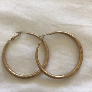 Antiqued Gold Hoops   Worn Once